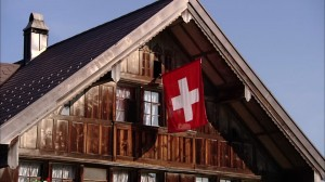 swiss-flag-wooden-house
